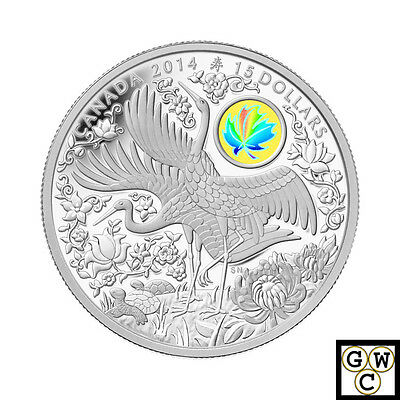 2014 'Maple of Longevity' $15 Silver Coin 1oz .9999 Fine (13908) (NT)