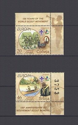 SERBIA, EUROPA CEPT 2007, SCOUTS with MARGINS, MNH
