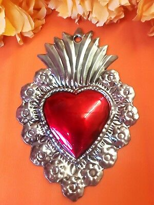 Authentic Mexican Tin Folk Art Repoussed Heart w/Flowers Milagro Antiqued