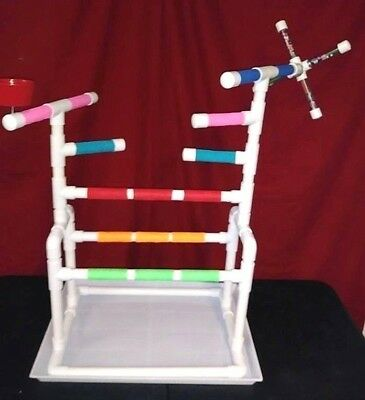 "Custom 3/4"" PVC Parrot Perch WindMill GymStand -with PAN !!"