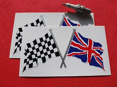 """Crossed Union Jack & Chequered Flag 7"""" stickers"""
