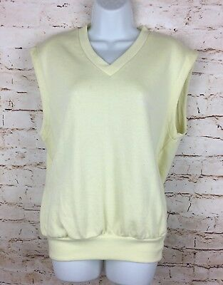 Vintage 90's Adidas Originals Jumper Vest Yellow Tennis Golf Sz 4 EU Women's