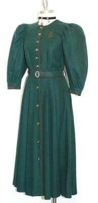 Long WOOL Winter DRESS German Trachten Women Full Length GREEN 36 4 XS S