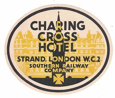 Charing Cross Hotel London  - Vintage Luggage Label - Southern Railway Company