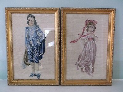Vintage Pair Of French Blue Boy And Pinkie Needlepoint Art Pieces