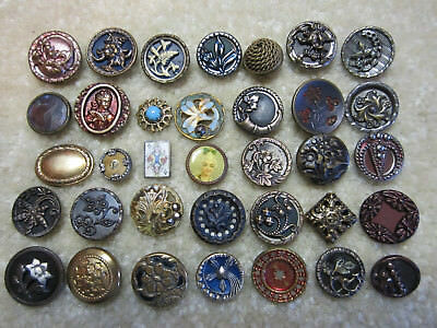 Collection Of Small Antique/ Victorian Metal Buttons/ Realistic Play Card +