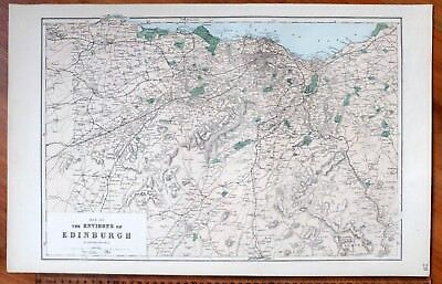 1883 LARGE VICTORIAN MAP THE ENVIRONS of EDINBURGH HAND COLOURED