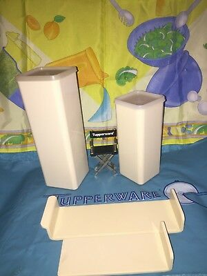 Lot Of 2 Vintage Tupperware Tan Large # 1696 & Small # 1827 Cheese Keepers