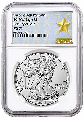 2018-(W) Amer. Silver Eagle Struck at West Point NGC MS69 FDI Gold Star SKU52707