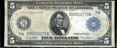 Outstanding 1914 $5 United States Federal Reserve Note Paper Currency EP201