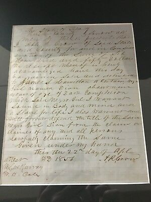 1856 Slave Document Bill Of Sale