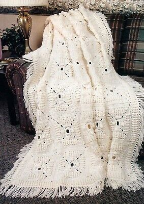 Textured Aran Squares Afghan Crochet Pattern Instructions Only