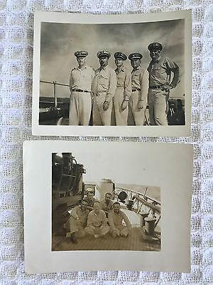 WW2 Era US Coast Guard Officers Photos Aboard Ship Lot of 2