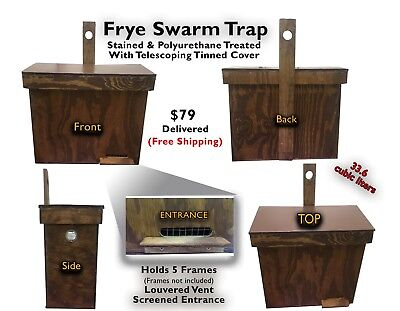 Honeybee Swarm Trap - Finished With Stain, Polyurethane & Tinned Cover