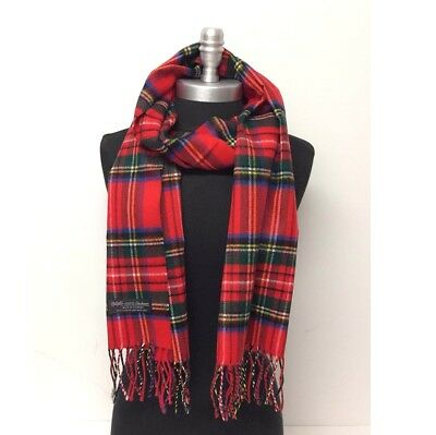 100% Cashmere Scarf Plaid Red Forest Blue Yellow Scotland Soft Warm Wool Wrap