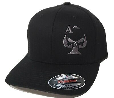 Ace of Spades Punisher Sniper Embroidered FLEXFIT Black Cap Hat, 5001