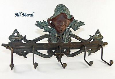 Black Americana Boy Cast Metal Wall Tie Coat Hat Rack Hanger Key Holder Frame