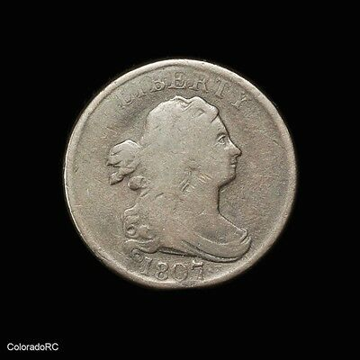 1807 U.S. Mint 1/2C Draped Bust Half Cent in VG Condition