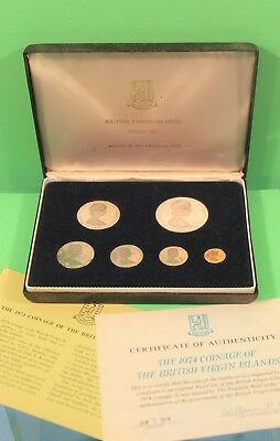 British Virgin Island Coins 1974 Proof Set The $1 Coin is Solid Sterling Sliver