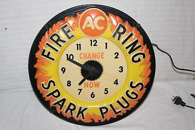 "Vintage 1960's AC Fire Ring Spark Plugs Gas Oil 17"" Lighted Embossed Clock Sign"