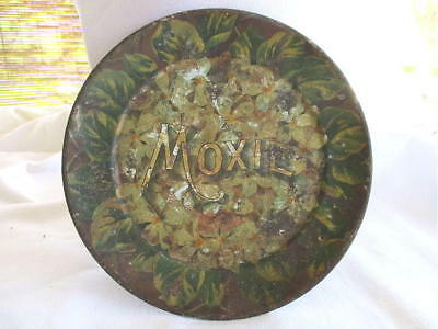 """Old tin Moxie Plate, 6"""" diameter - AS IS"""
