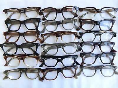 True Vintage Men's LOT of 18 READERS Plastic Hornrim 60's Eyeglasses Frame 1627