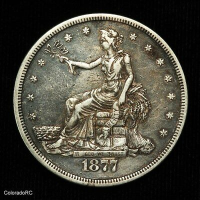 1877-S U.S. Mint $1 Silver Trade Dollar in VF+ to XF Condition