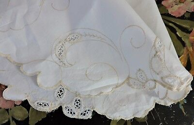 Vintage Madeira Centerpiece/ Doily with floral embroidery