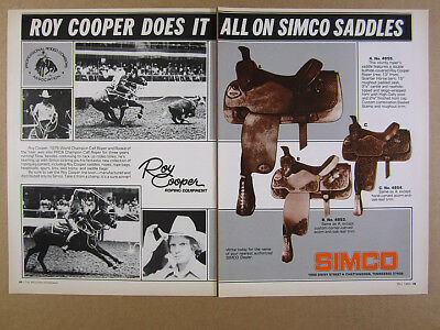 1980 Simco Roy Cooper Roping Equipment Saddles rodeo photos vintage print Ad