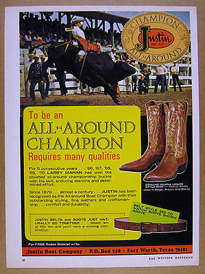 1971 Larry Mahan bull riding rodeo photo Justin Cowboy Boots vintage print Ad