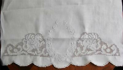 """vintage PR 34"""" Huck TOWELS WINGED LIONS Punchwork w Floral Embroidery Cartouche"""
