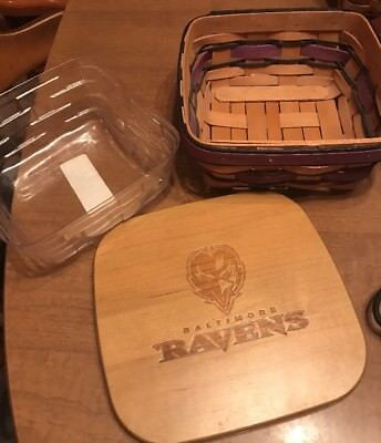 Longaberger Berry Basket With Protector And NFL Baltimore Ravens Lid