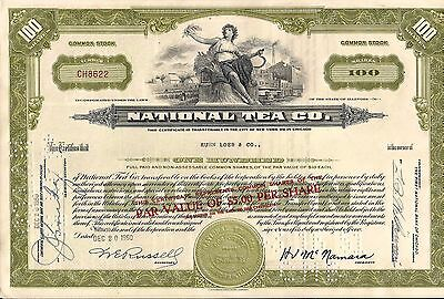 National Tea Co. stock certificate 100 shares olive