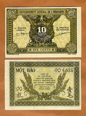 French Indochina, 10 Cents (1942) P-89a, aUNC