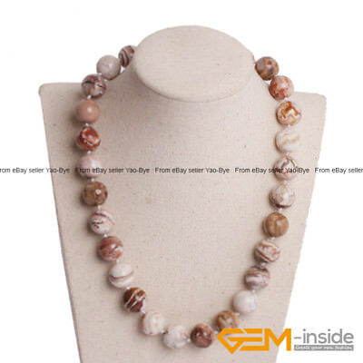 Handmade Natural Flower Jasper Beaded Gemstone Long Necklace Fashion Jewelry