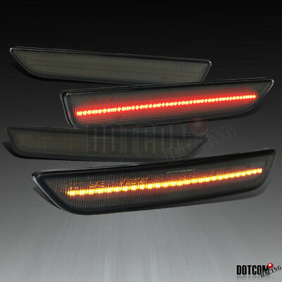 For 2010-2014 Ford Mustang Front & Rear Smoke LED Side Marker Lights Bumper Lamp