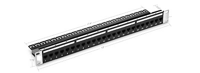 24 Ports Cat5e Unshielded Feed-Through Patch Panel, 1U Rack Mount