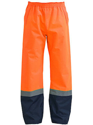 Premium Hi Vis Fluro Safety Over Pant Trouser Wet Rain Waterproof Nylon Elastic