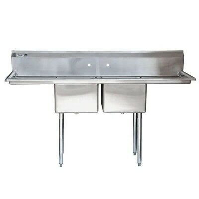 "NEW 72"" 2 Compartment NSF Stainless Steel Commercial Sink with Drainboards"