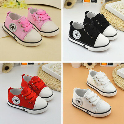 2018 HOT Boys Girls Soft Shoes Kids Flats Casual Lace up Toddler Babys Canvas