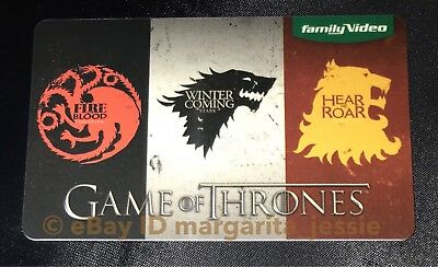 New Game Of Thrones Family Video Gift Card No Value Collectible 2017