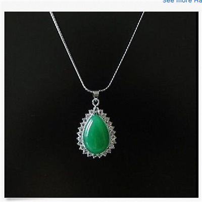 100% Natural jade Hand-carved green Insert Silver edge lucky pendant necklace