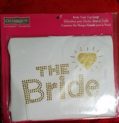 "NWT/NEW Gold Rhinestone ""The Bride"" Tank Top - Large"