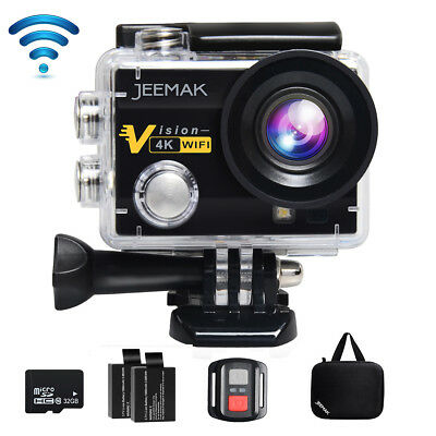 JEEMAK ACT74R Sport Kamera Action Cam WiFi HD 4K Wasserdichte Fernbedienung+32GB