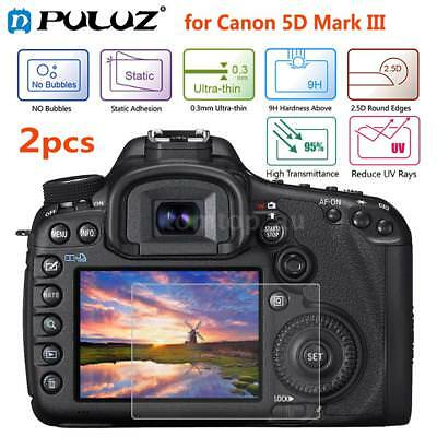 2pcs Puluz 9H 2.5D Tempered Glass Screen Protector for Canon 5D Mark III P8C0