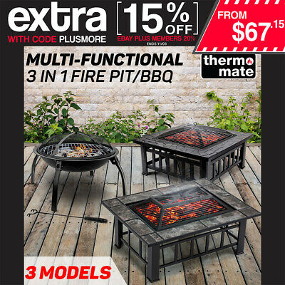 THERMOMATE Outdoor Fire Pit BBQ Grill - Garden Camping Heater Fireplace