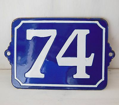 Large ANTIQUE FRENCH ENAMEL PORCELAIN DOOR HOUSE NUMBER PLAQUE SIGN Blue 74