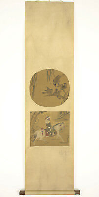 "Chinese Hanging Scroll ""Four Sparrows and Man on Horse""  @g988"