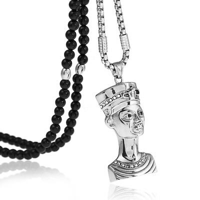 """Stainless Steel Cleopatra Egyptian Pendant Necklace With Agate Stone Chain 26"""""""