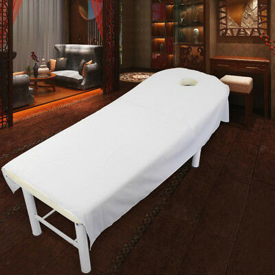 White Soft Beauty Massage SPA Treatment Bed Table Cover Sheets With Hole